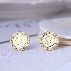 Michael Kors Round Shell Hollow Letter Earrings